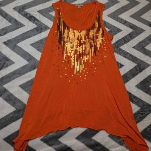 One World Orange Sequin Handkerchief Tank